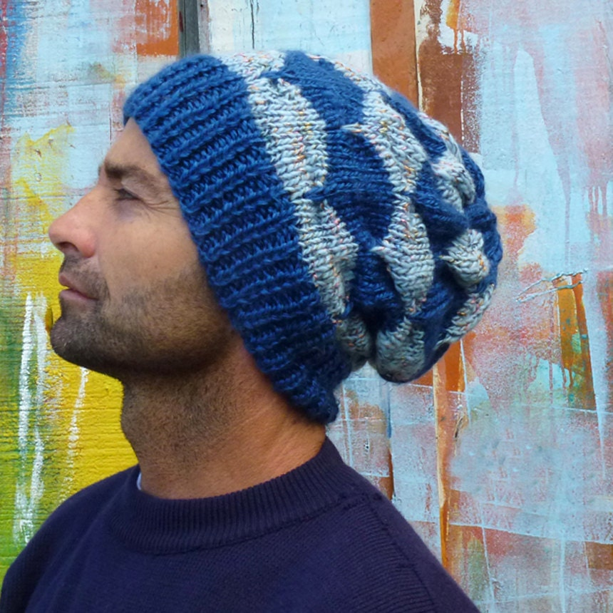 Slouchy Toque Knitting Pattern : Slouchy beanie pattern Unisex Adult Man/Woman Knit Hat by bySol