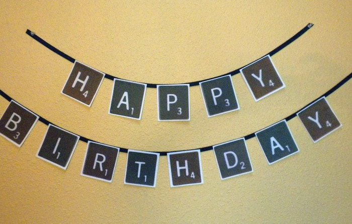 Happy Birthday Scrabble letters BANNER DIY