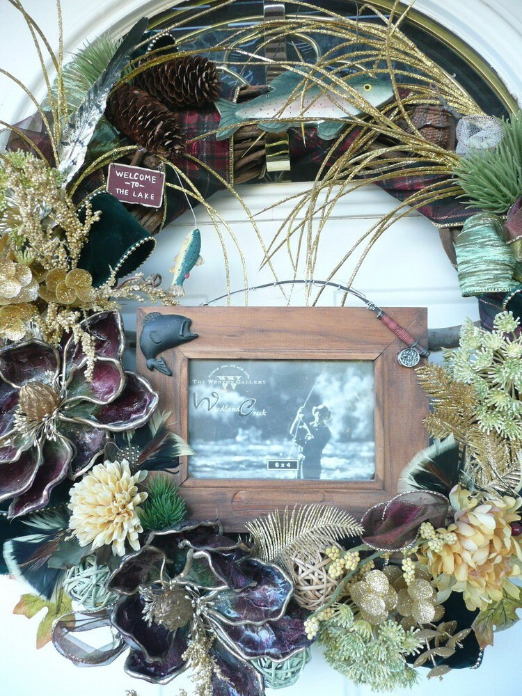 Country Fishermans Trophy Framed Capture in a Wreath