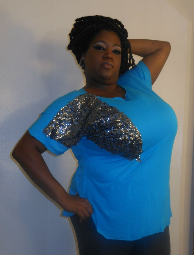 Nadia - Posh N Petals Knit Bold Turquoise Blue with Slate Silver Sequin  Embellished Tunic Blouse XL - 1 X  Plus Size