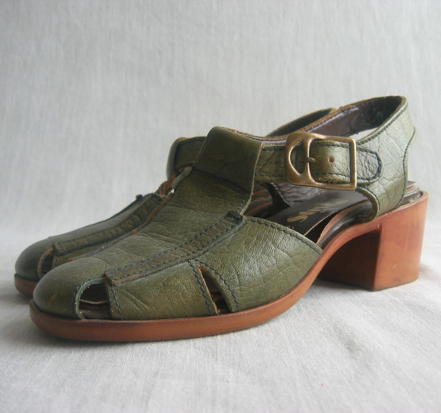 Vintage Avocado Buckle Sandals