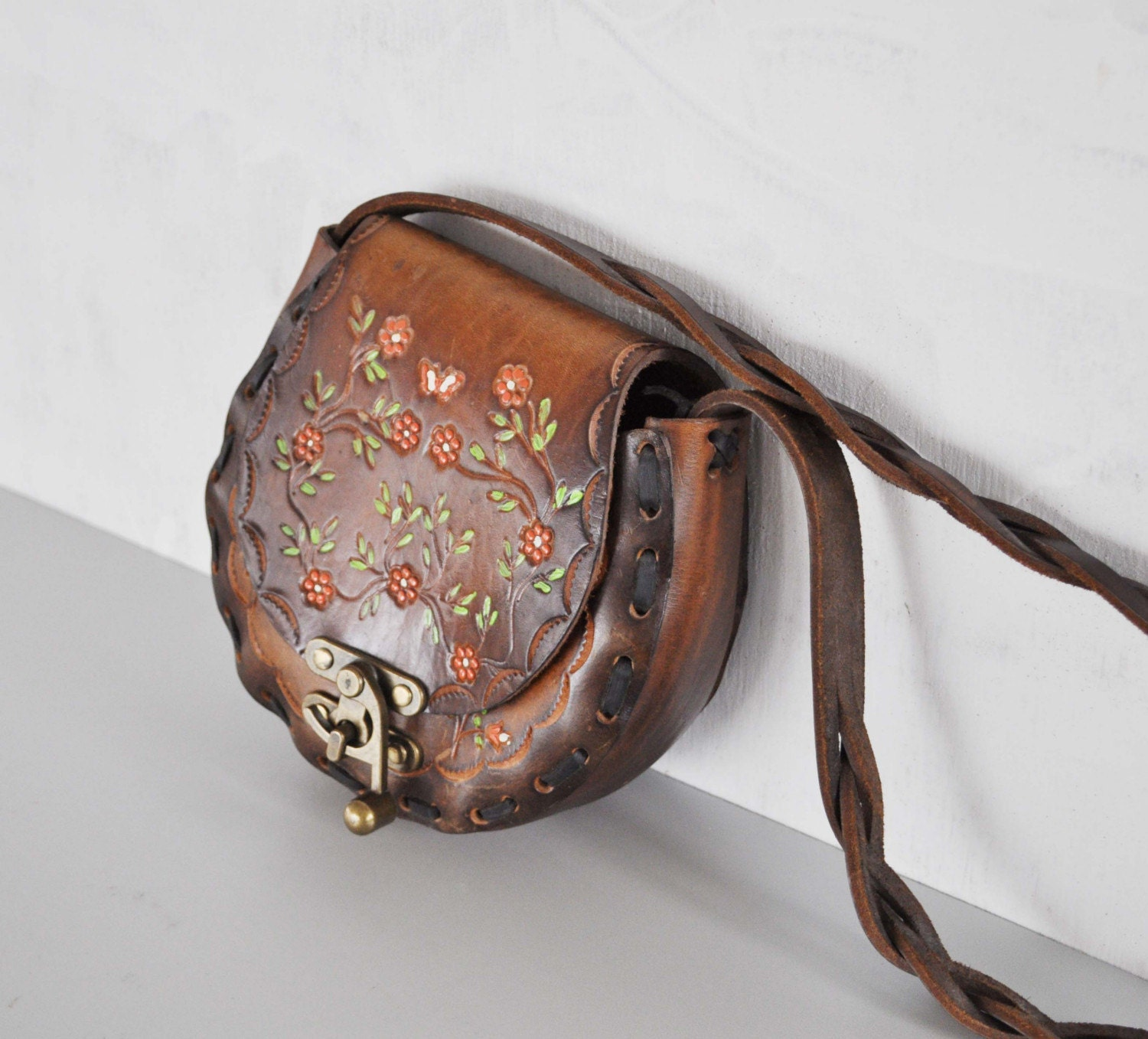 Vintage 70s PAINTED Leather Bag by MariesVintage on Etsy from etsy.com