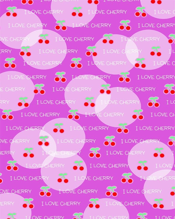 Special Sale - FREE SHIPPING I Love Cherry Printable Scrapbook Paper