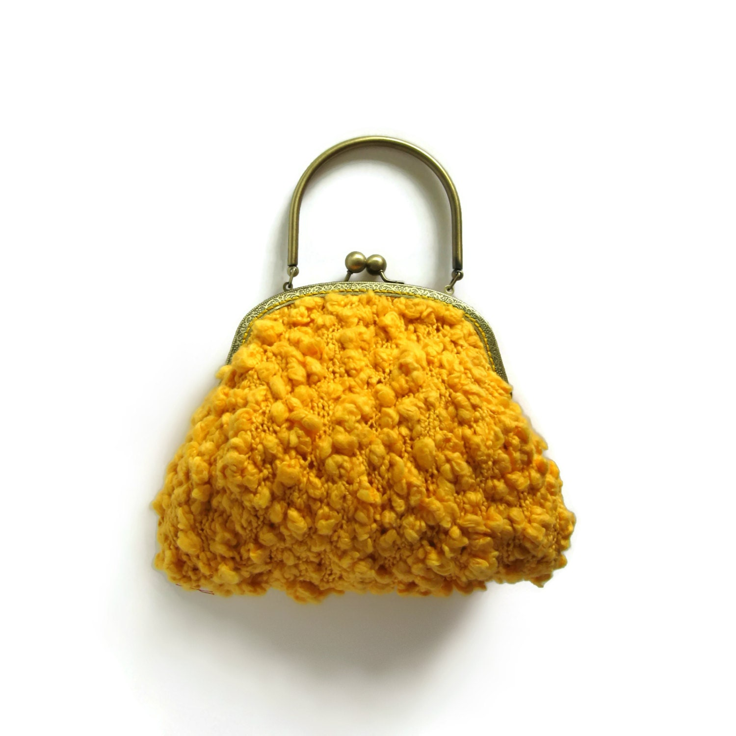 Yellow Bag Purse Knitted in Cotton with Brass Handles - knitBranda