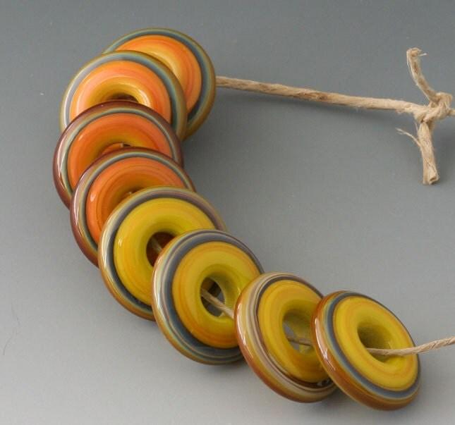 Chunky Rings - (8) Handmade Lampwork Beads - Russet, Squash