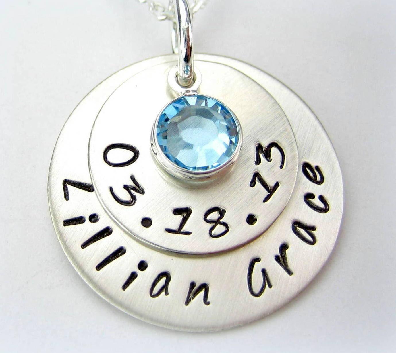 Personalized Mommy Necklace - Sterling Silver Handstamped Baby Newborn Name Necklace Swarovski birthstone