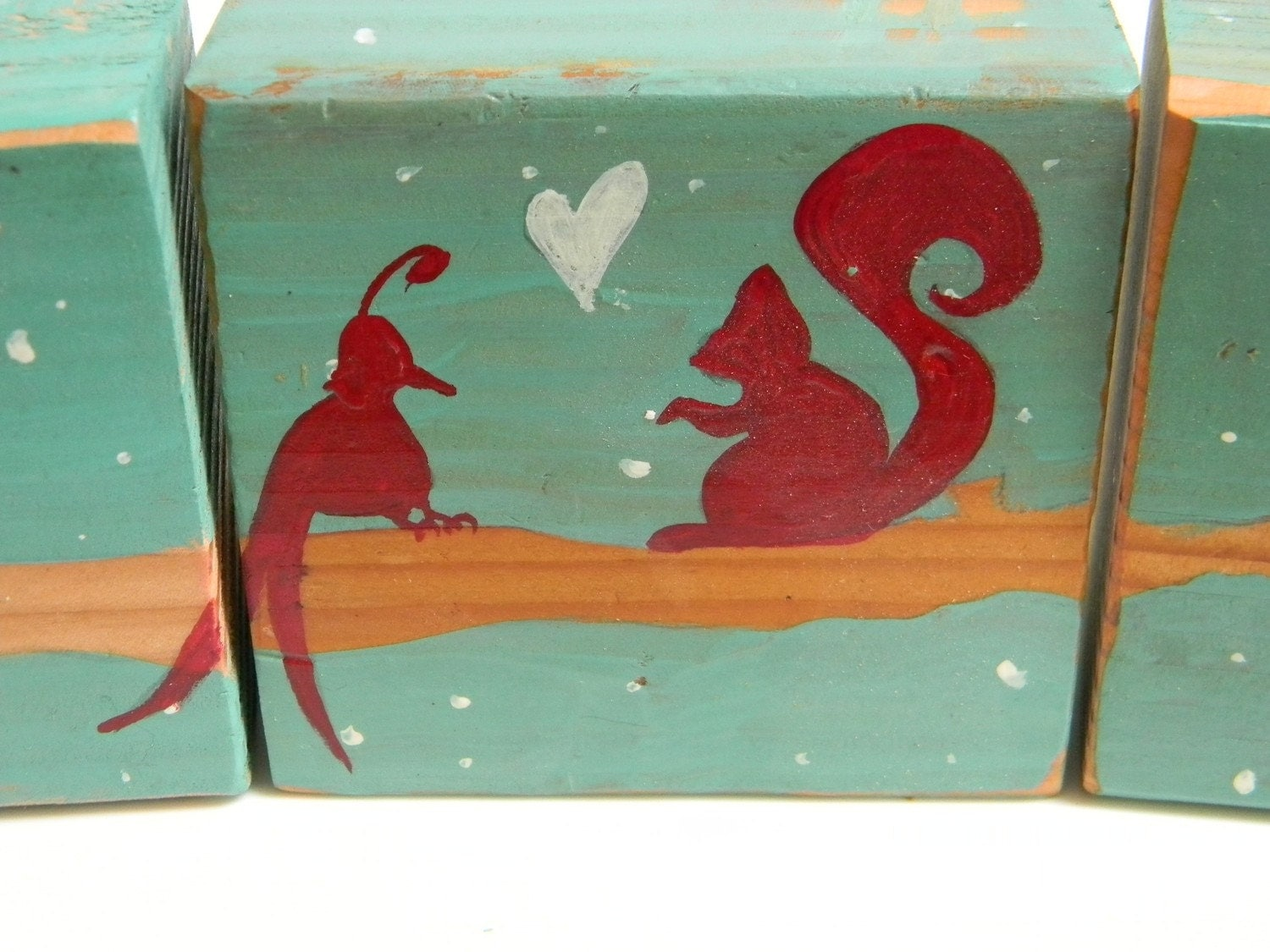 bird loves squirrel handpainted onto upcycled wood blocks
