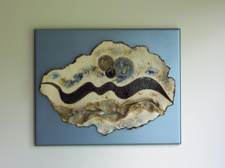 Abstract Ceramic Wall Art Sculpture Blue White By