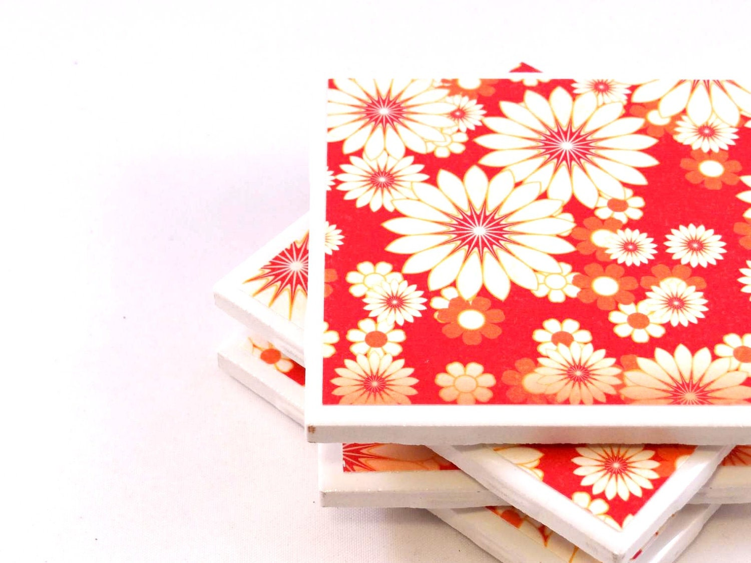 Ceramic Tile Coasters - Red, Orange and White Floral - Set of 4 - littlecoastergnome
