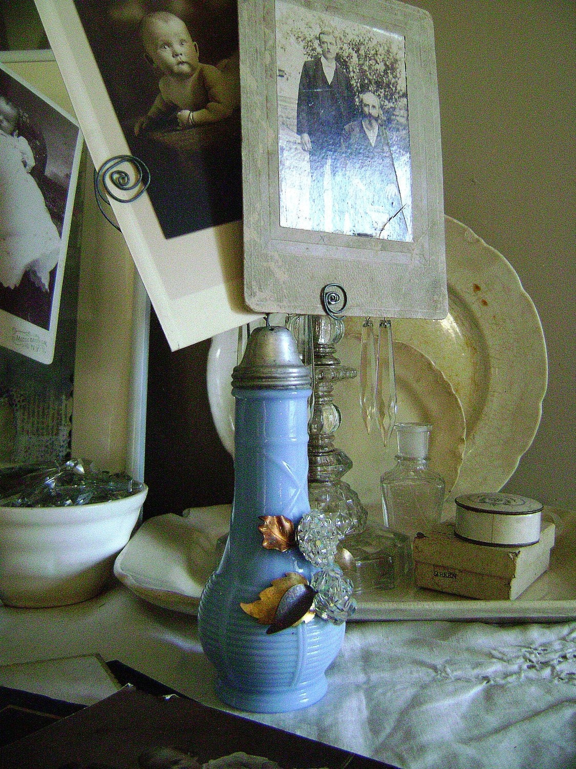 Periwinkle, as seen in Somerset Life, vintage assemblage photograph display holders by Jennifer Valentine on Etsy