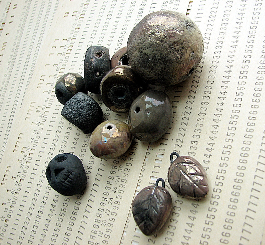 Iridescence -- ceramic raku beads destash set of 11 -- shiny carbon black beads with copper and silver