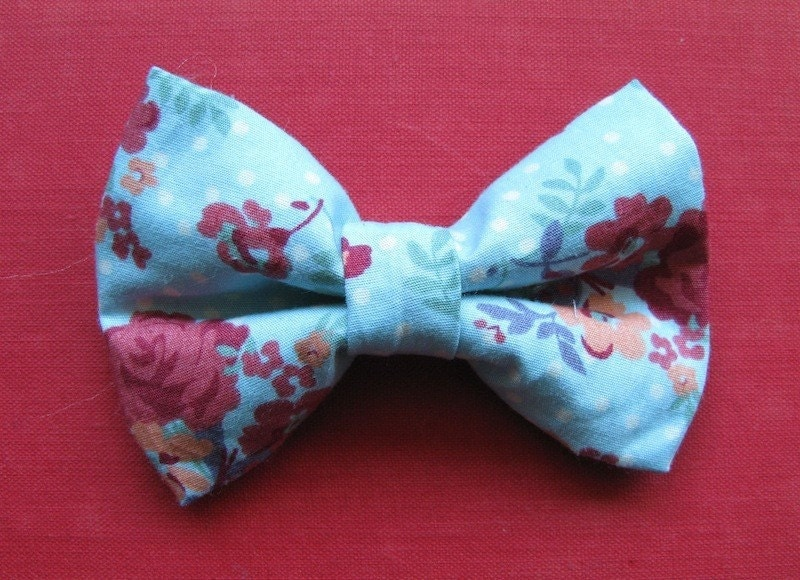 Blue and Red Floral Hair Bow