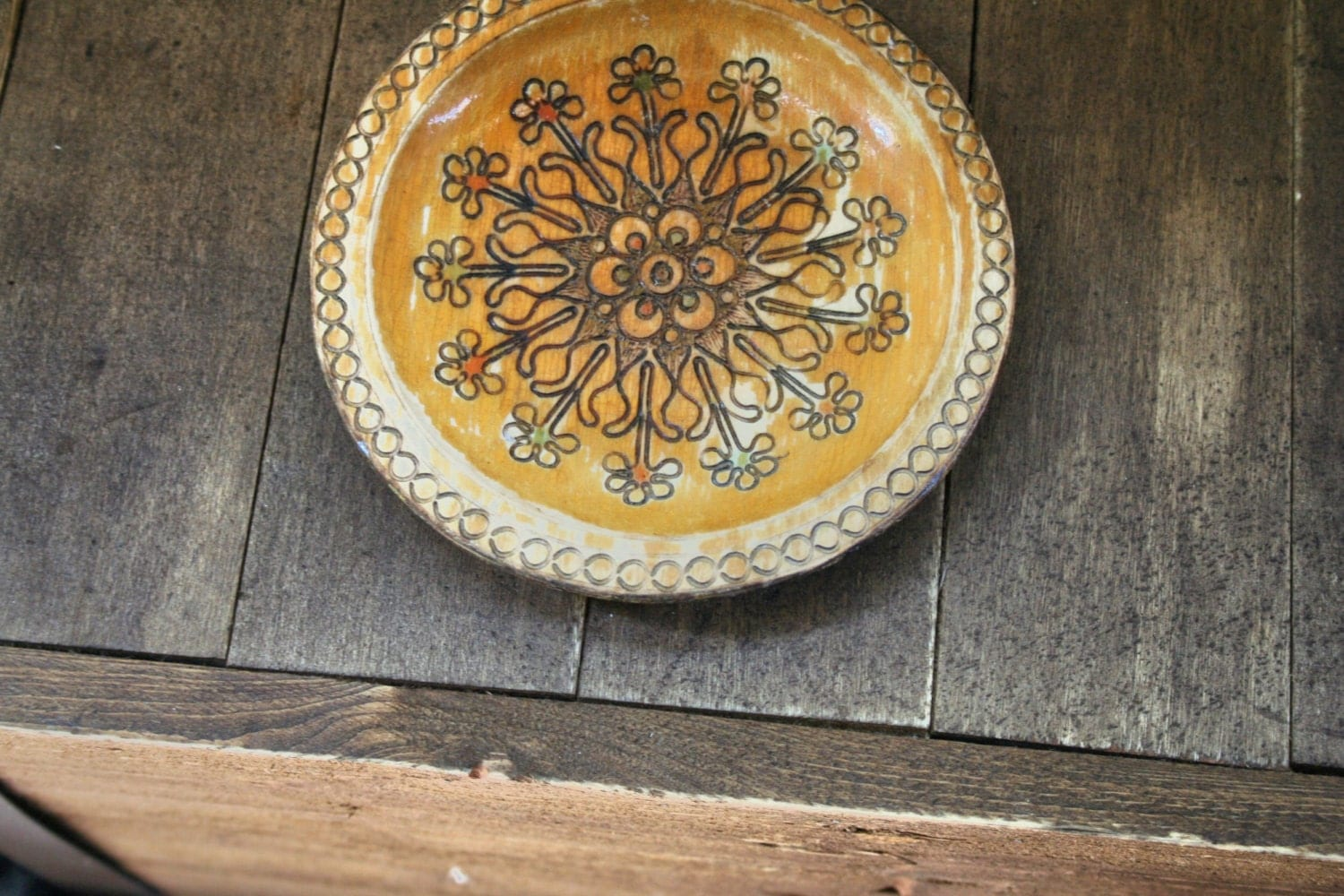 Small Decorative Wood Plate, Carved Wooden Plate, Flower Plate, Vintage Home Decor - MyOliviaVintage
