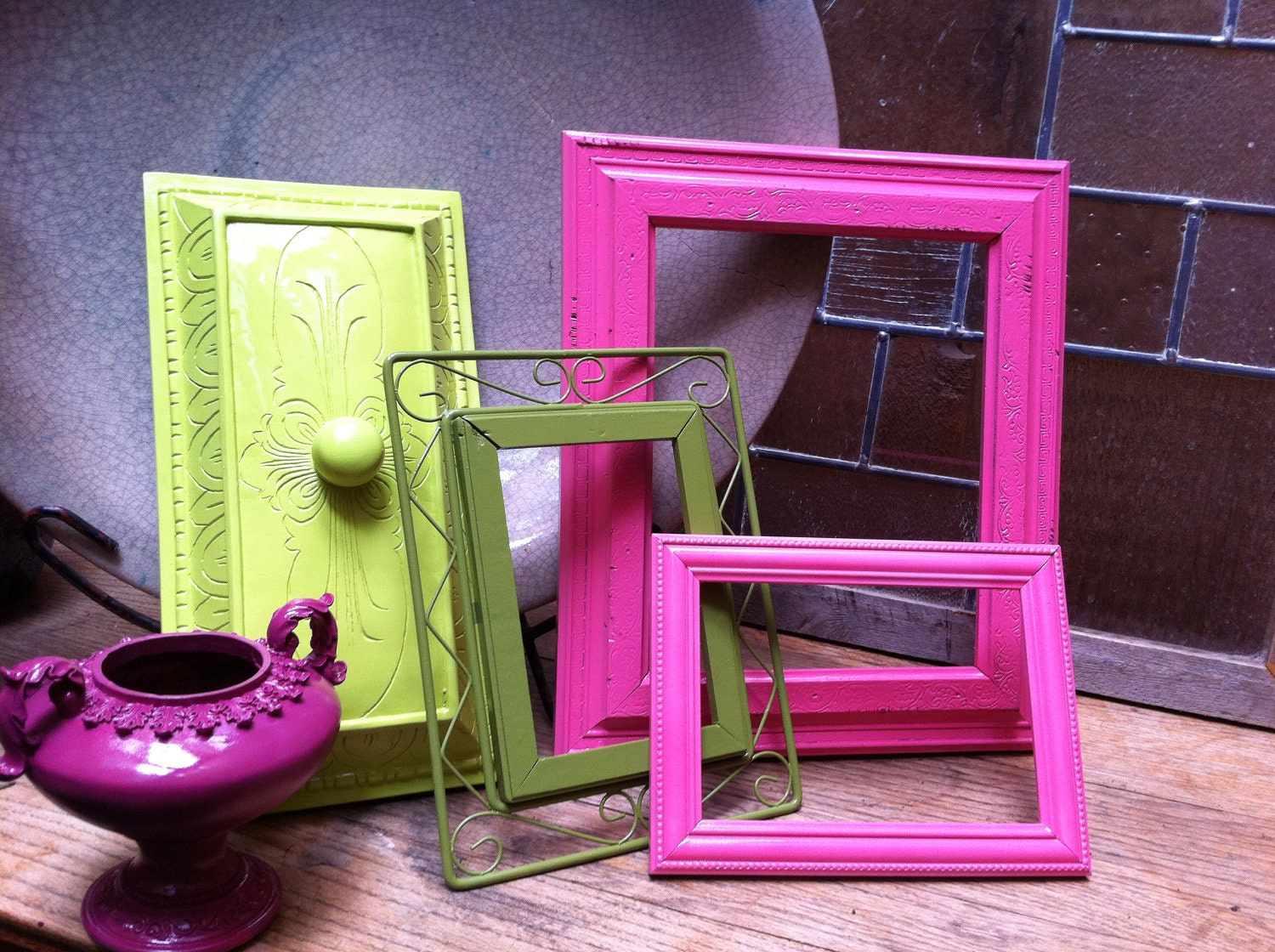 Upcycled Home Decor Frame and Figurine Set