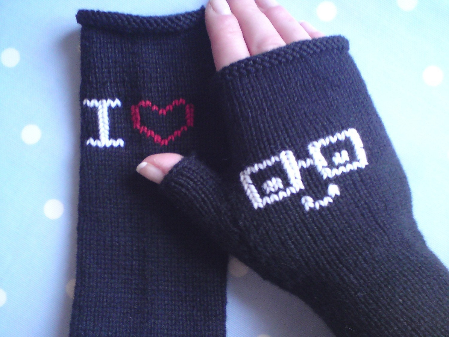 Black Fingerless Gloves - I Love Nerds