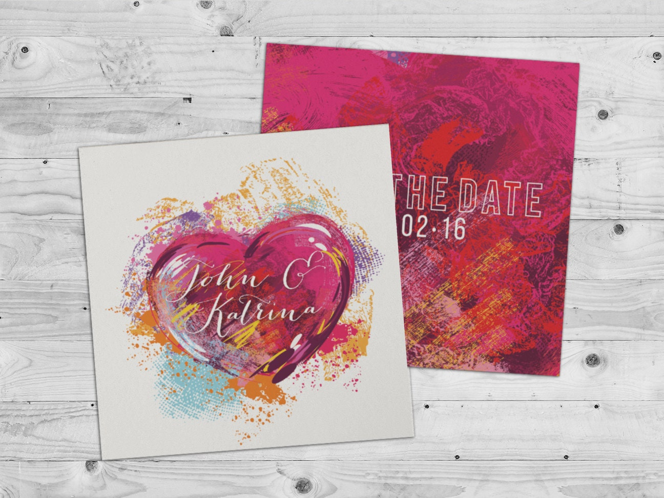Love Heart Save the Date Card Wedding Invitation painted save the date modern save the date pink save the date artistic save the date