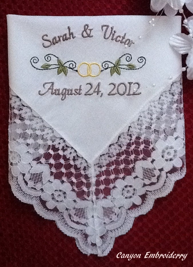 Personalized Keepsake Wedding Dress Lace Handkerchief By Canyon Embroidery on ETSY