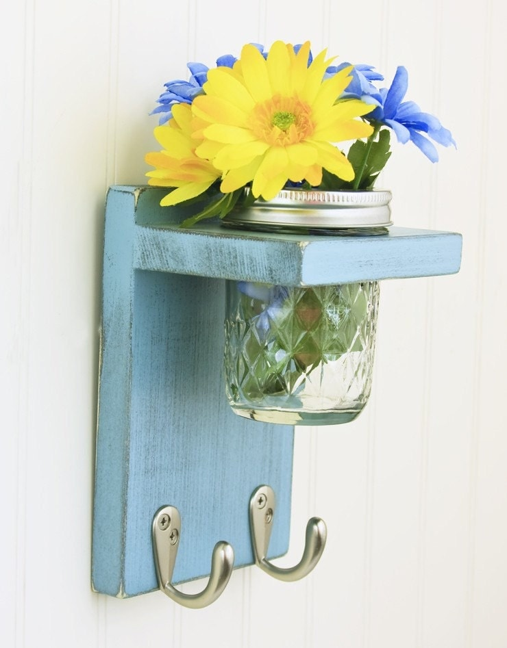 Country Key Holder with 2 Hooks and Mason Jar Vase in shabby Blue Gray- TRwoodworks