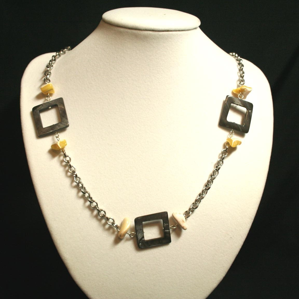 Yellow Shell and Grey Square Seashell necklace