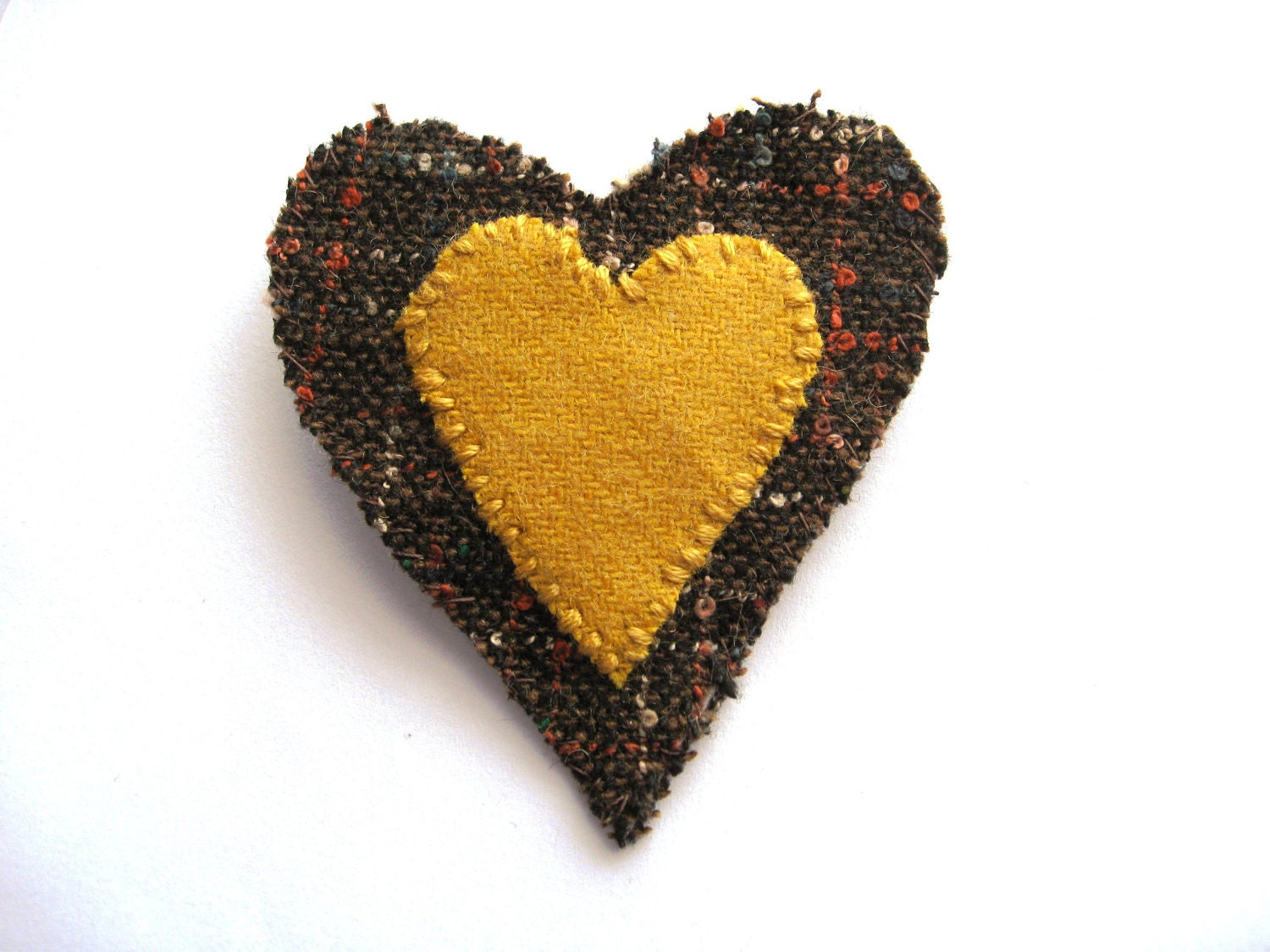 I Love Tweed -  Heart Brooch in mustard yellow and brown - Bigbluebed