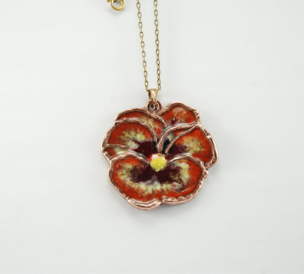 Pansy bronze pendant with enamel finish - wild flower in orange, yellow and brown. - WingsAndStings