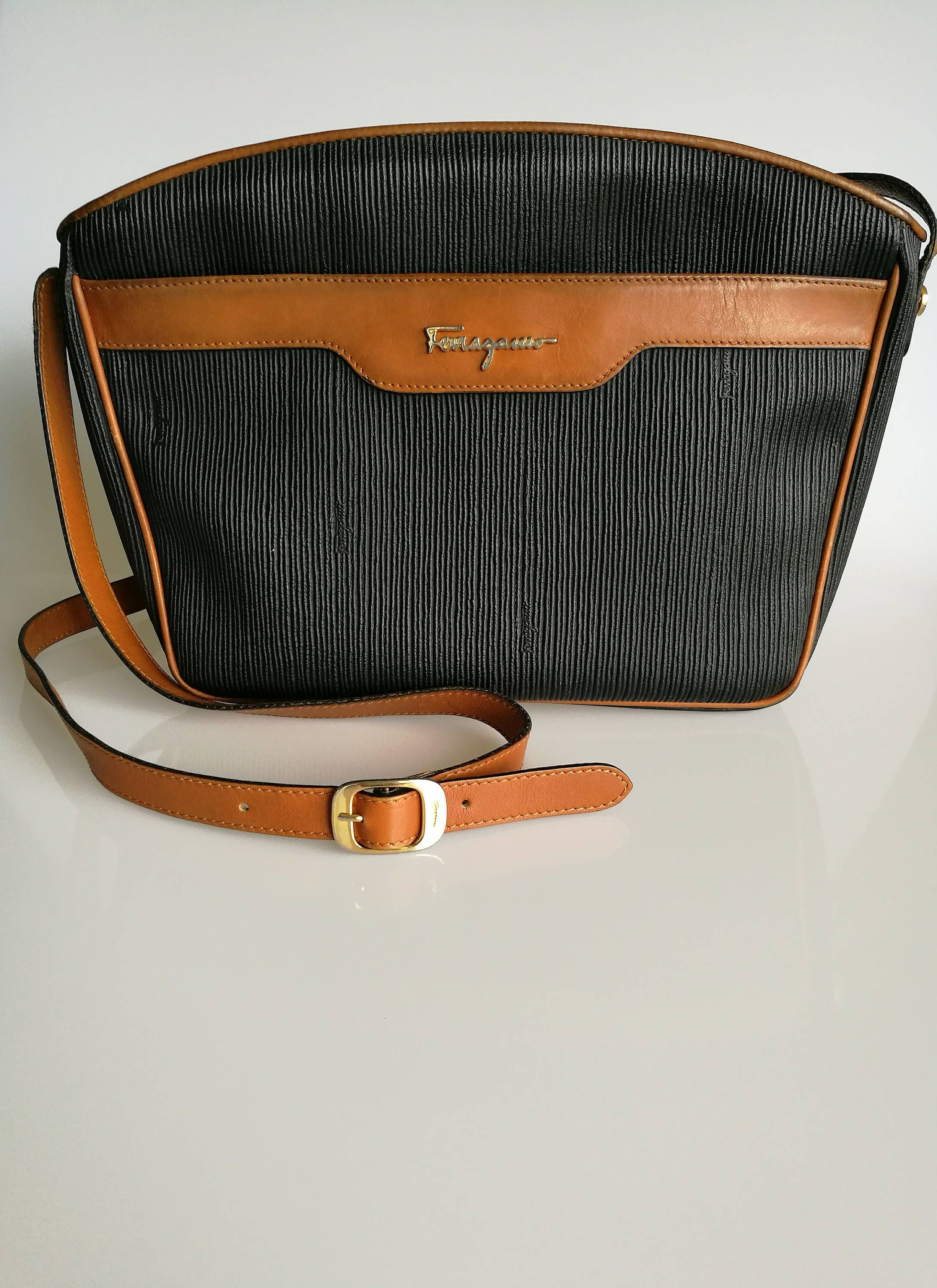 Salvatore Ferragamo Vintage Black Coated Canvas and Tan leather trim Shoulder  Messenger bag