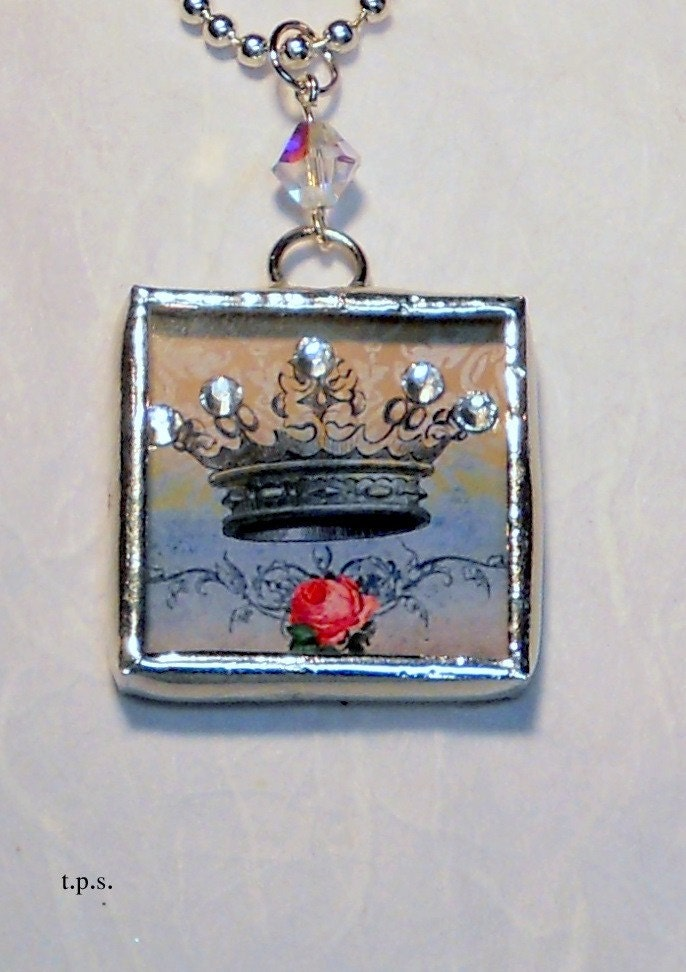Princess Crown soldered glass pendant shadow box with glass swarovski crystal
