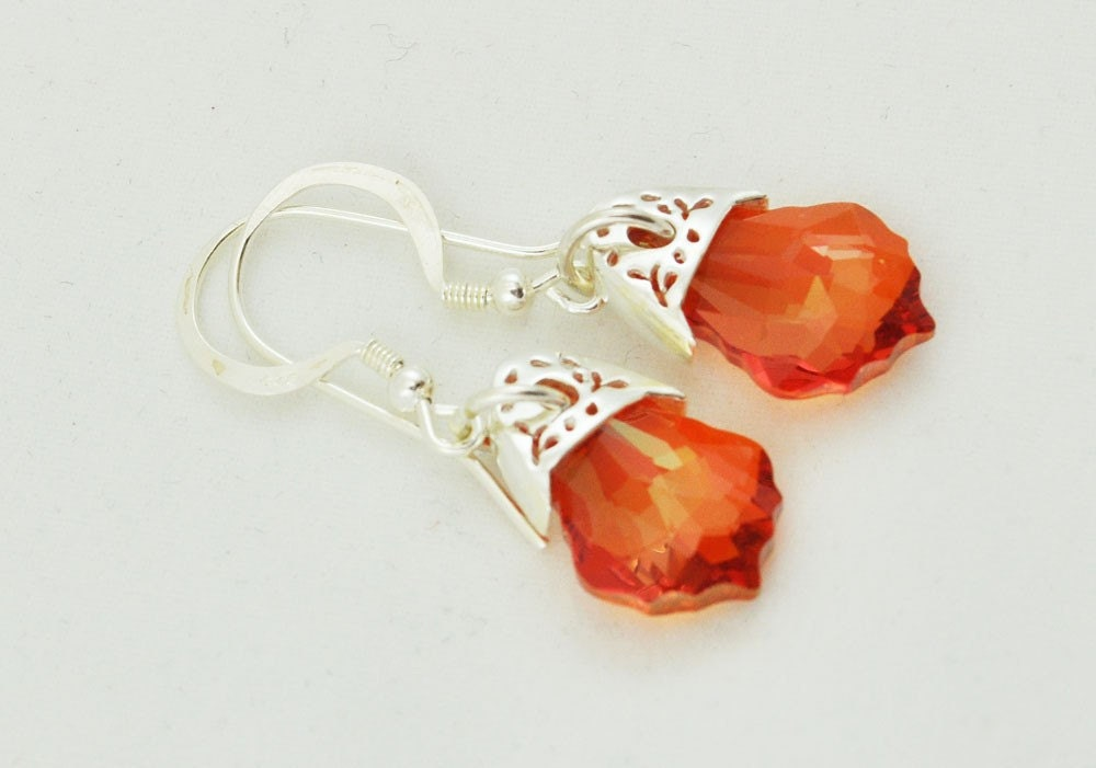Sunset Handmade Swarovski Crystal Baroque Earrings with Sterling Silver Embellishments