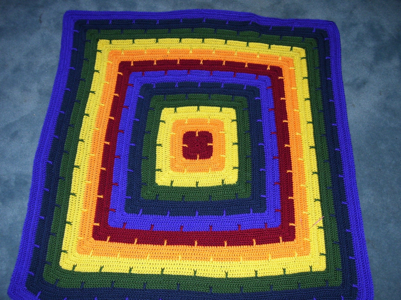 Baby Afghan - Rainbow Colors - Car Seat Blanket - Security Blanket