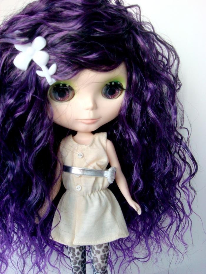 Purple Curly Hair Wig w/ Hairclip for Blythe Doll