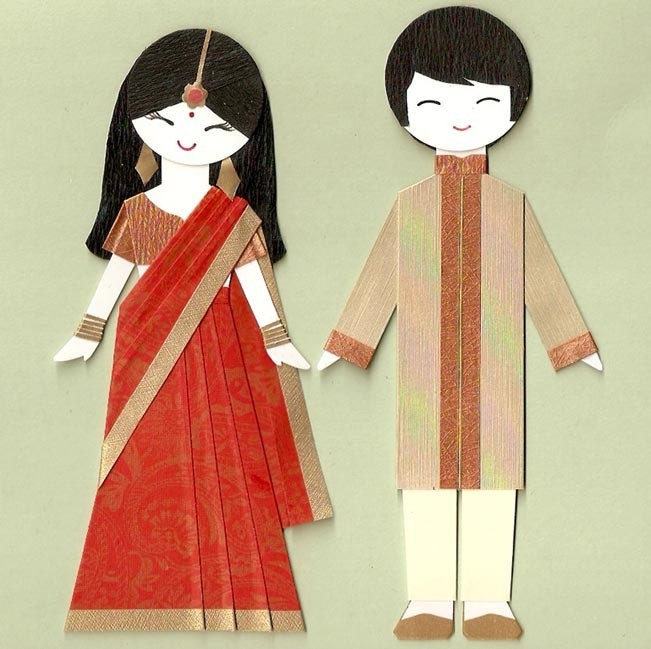 Indian Girl And Boy Couple Paper Doll Card Topper By