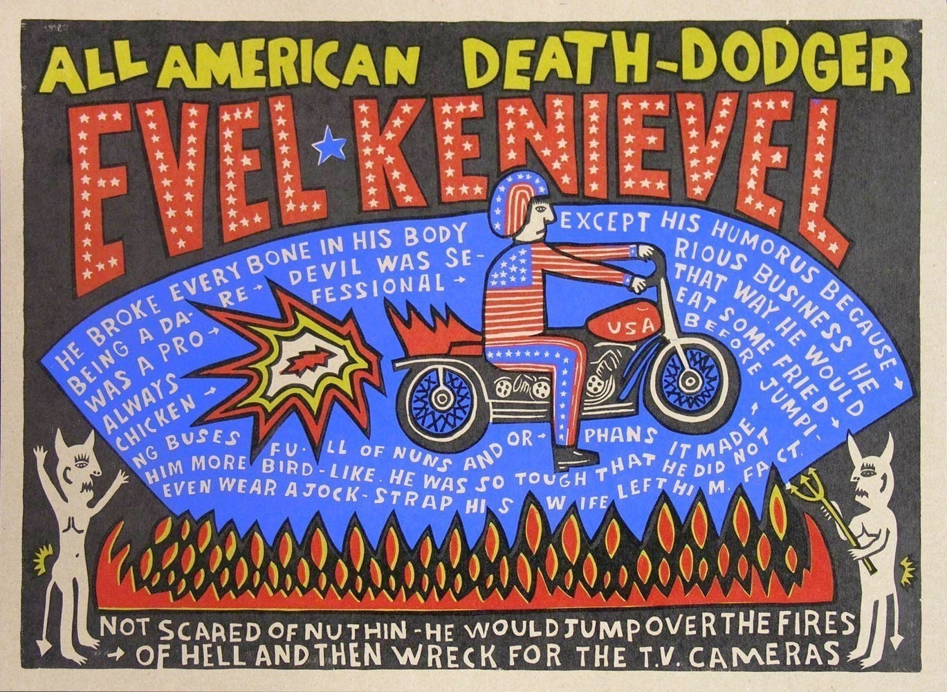 picture of EVEL KNIEVEL ALL AMERICAN DEATH DODGER HAND PRINTED LETTERPRESS PRINT