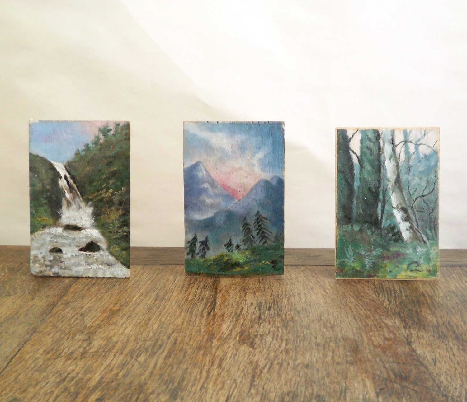trio of oil on board studies - the natural world