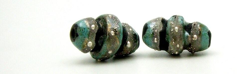 2 Aqua Fine Silver Raku Beads  Ceramic  Jewelry Supplies Handmade by MAKUstudio