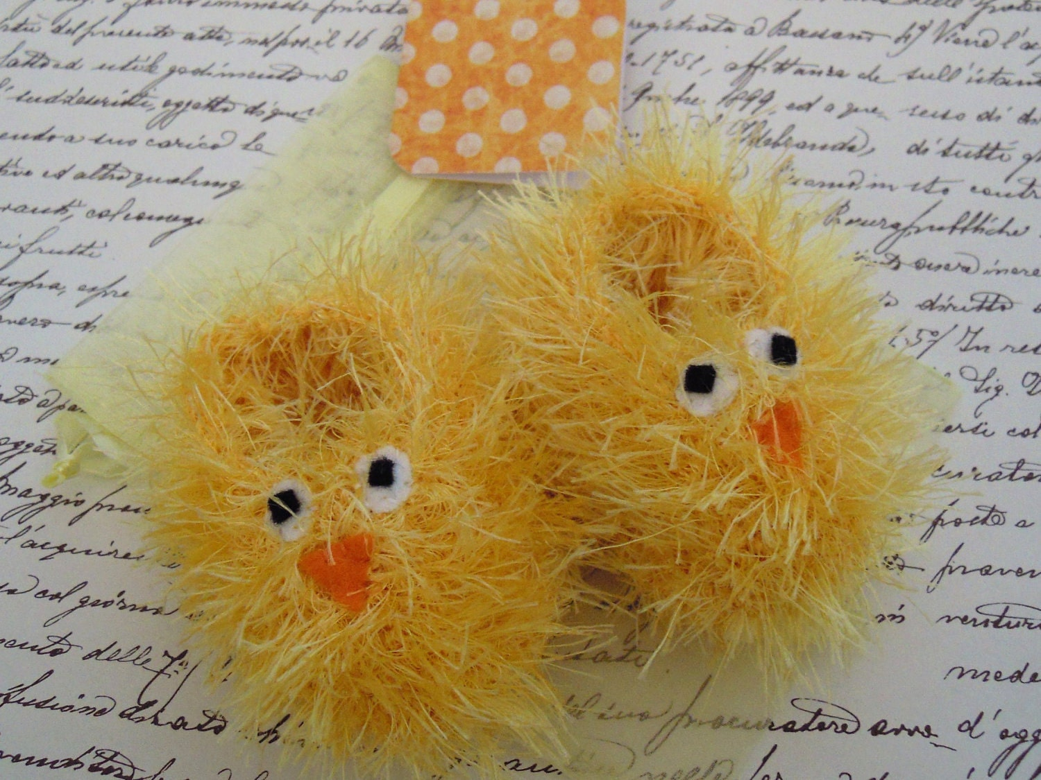 Easter chick baby gift set - fluffy hand knitted yellow bird booties, matching gift bag and polka dot gift card