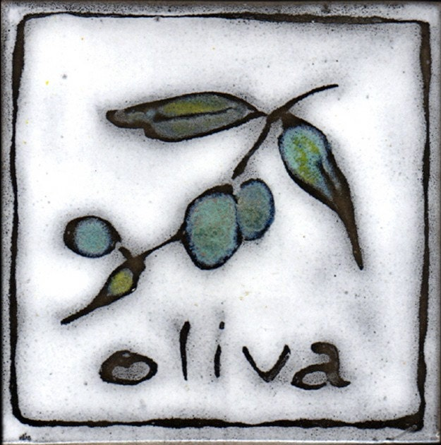 hand made hand painted tile with italian olive design