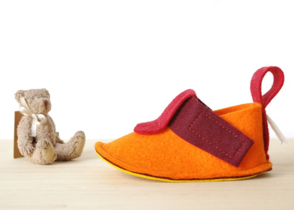 Toddler shoes Pop Orange with non slip soles - pure wool felt toddler booties in orange, red & yellow - toddler slippers