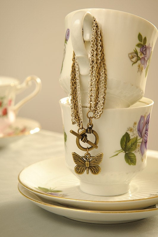 "Antiqued Brass and Silver Chain Bracelet with Butterfly Charm ""Farewell Flutter"""