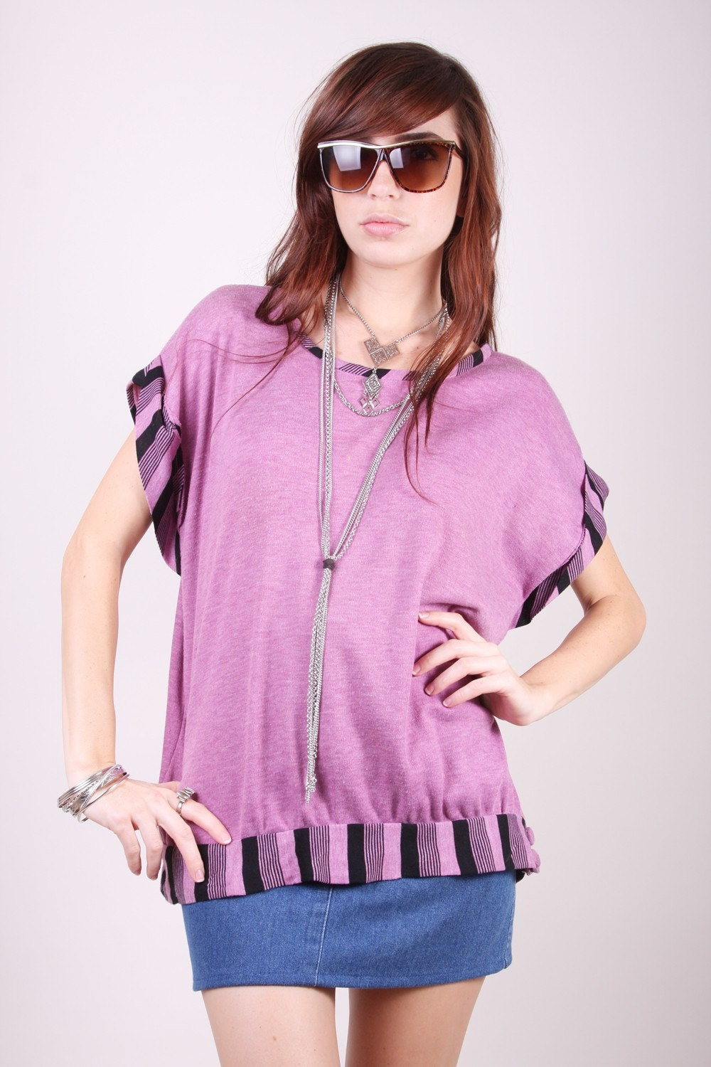 Vintage Shirt 80s Indie Hipster Lavender and Black Slouch Top