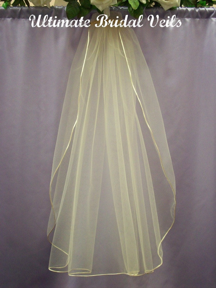 tier champagne bridal wedding veil satin rattail cord or ribbon trim