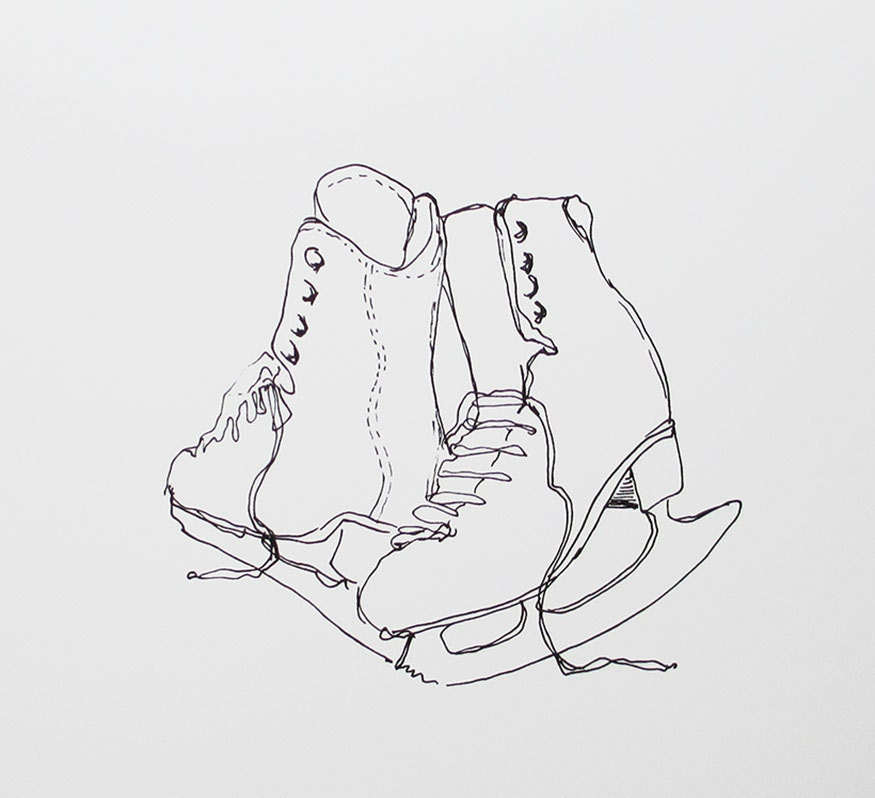 Black line drawing of skates  // fine art print of ice skates // drawing of ice skates // winter white art print // black and white art
