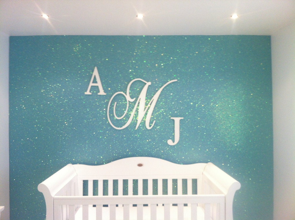 Glitter And Sparkle Three Piece Monogram Wall By