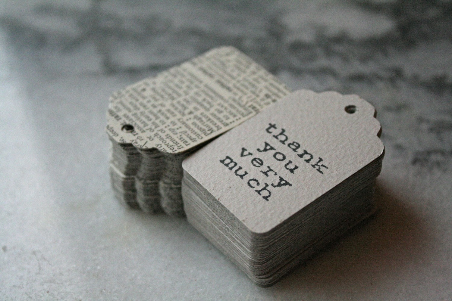 Dictionary favor tags, 100, with hand-stamped thank you message, vintage dictionary design