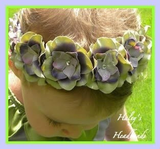 LAVENDAR AND GREEN FAIRY PRINCESS FLOWER BABY to GIRL HEADBAND - GIRL WEDDING... PARTY PRINCESS PERFECT HEADBAND
