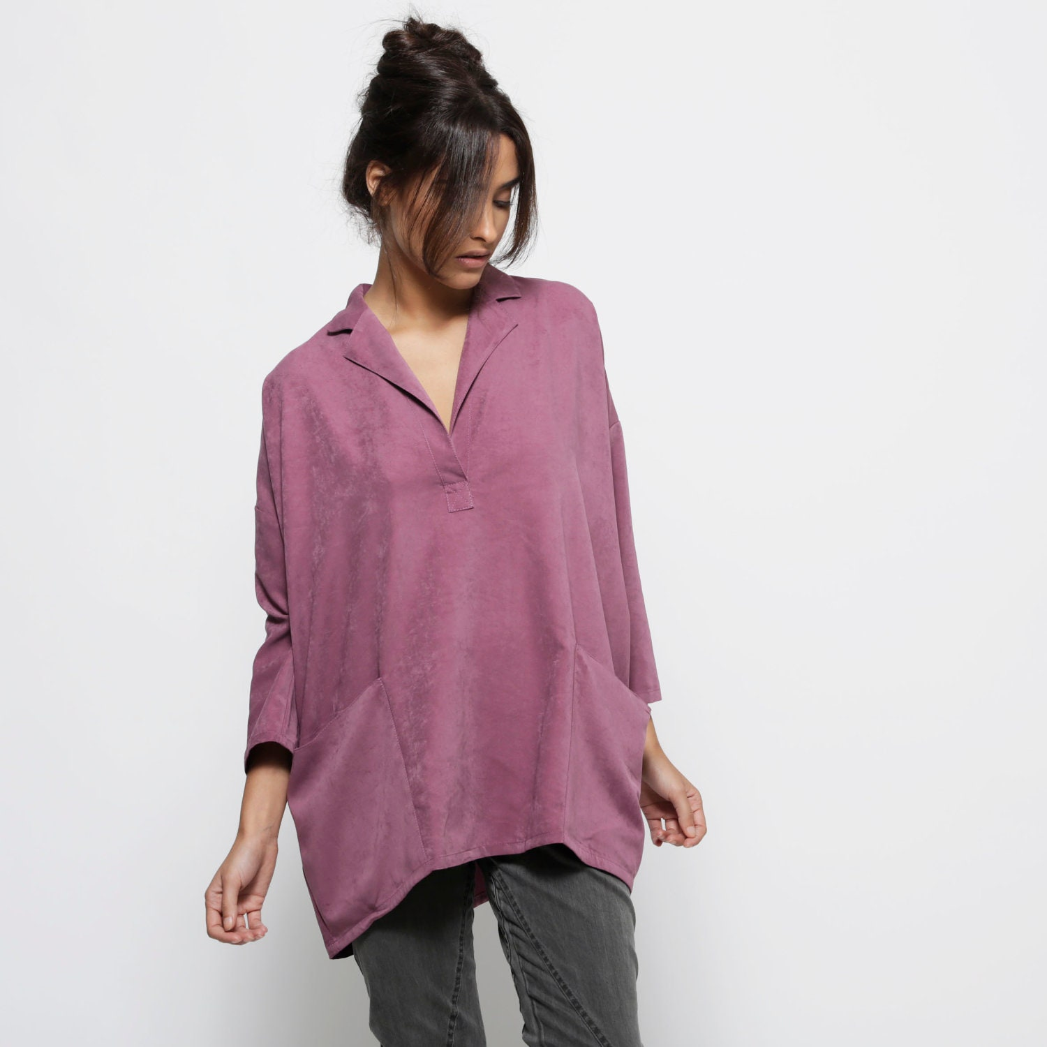 Purple women  blouse top, big pockets shirt,  3/4 sleeves,  oversize - AndyVeEirn