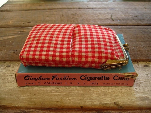 Vintage Gingham Cigarette Case in Box