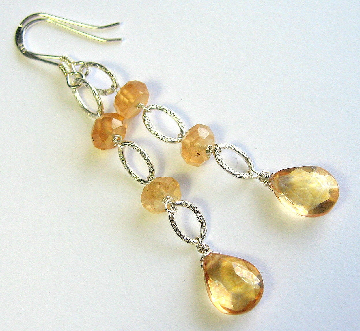 Apricot Gemstone Earrings, Champagne Quartz, Sterling Silver, Garnet