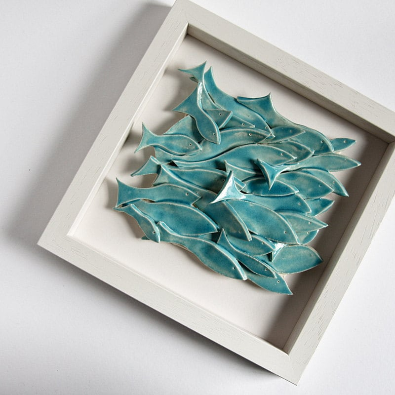 School of Fish modern wall art sculptural ceramic tile by