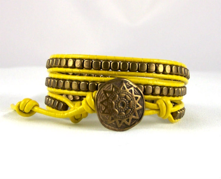 Leather Wrap Bracelet, Yellow and Bronze with a Tribal closure, Yellow Bracelet, Leather Jewelry, All Sizes, All Colors