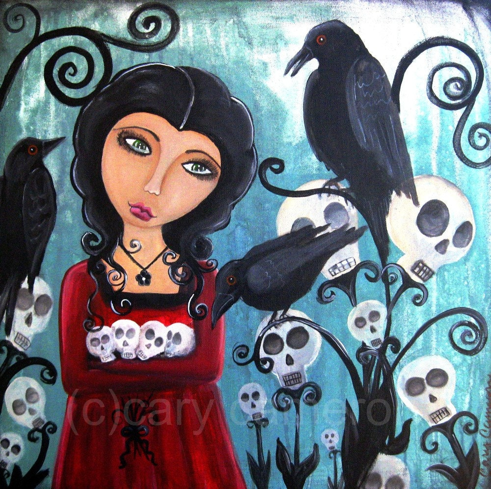 Garden of the Lost skull gothic crows fantasy fairy art print cary cameron
